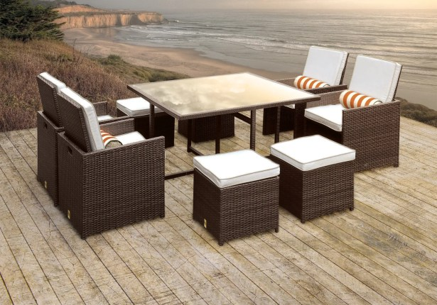 Stella II Patio Rattan 9 Piece Dining Set with Cushions and Cylinder Toss Pillows Cushion Color: White/Cream