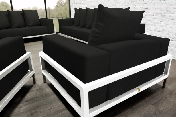 Tilly Patio 4 Piece Sofa Set With Cushions Fabric: Black, Accent Pillow Fabric: Dark Oyster/White