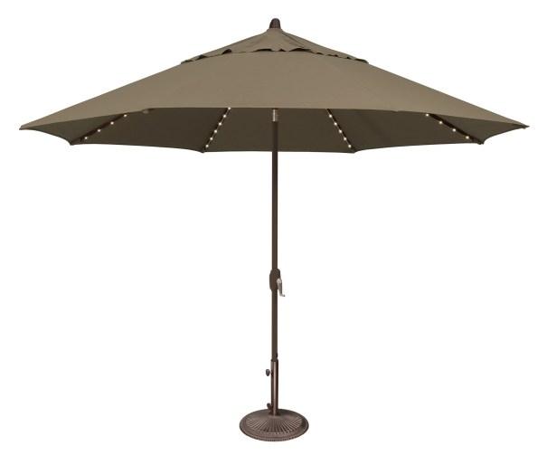 Lanai 11' Lighted Umbrella Fabric: Solefin / Taupe