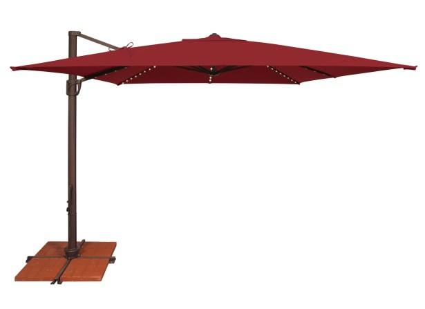Bali 10' Square Cantilever Umbrella Fabric: Solefin / Really Red
