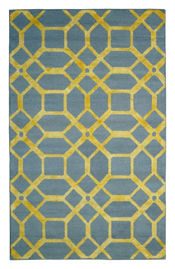 Wool Hand-Tufted Gray/Gold Area Rug Rug Size: 5' x 8'