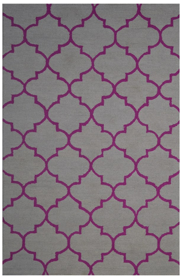 Wool Hand-Tufted Gray/Pink Area Rug Rug Size: 5' x 8'