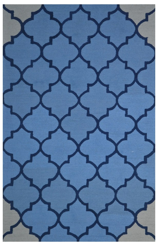 Wool Hand-Tufted Blue Area Rug Rug Size: 5' x 8'