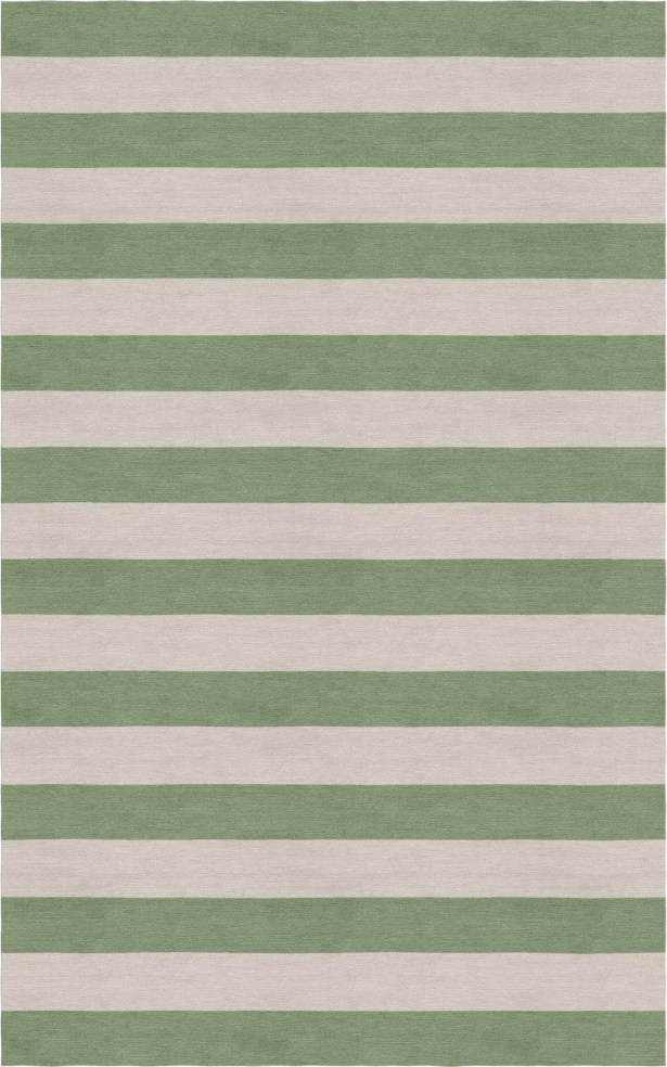 Cervantes Hand Tufted Wool Silver/Sage Stripe Area Rug Rug Size: Rectangle 5' x 8'
