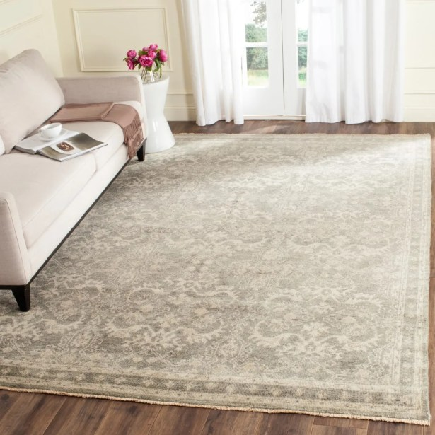 Solomon Hand-Knotted Gray/Ivory Area Rug Rug Size: Rectangle 8' x 10'