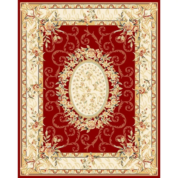 Taufner Red/Ivory Area Rug Rug Size: Rectangle 7'9