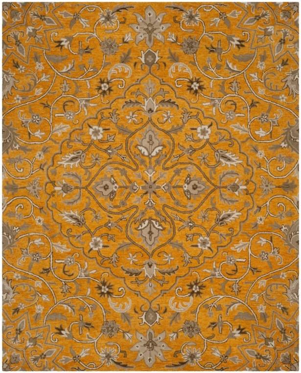 Davila Hand-Tufted Gold/Taupe Area Rug Rug Size: Rectangle 8' x 10'