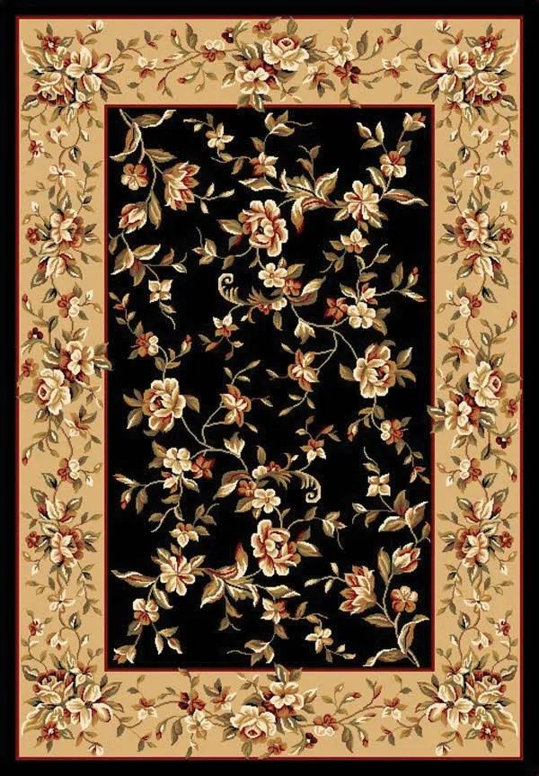 Verveine Black/Beige Floral Delight Area Rug Rug Size: Rectangle 7'7