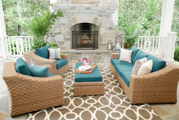 St. Johns 6 Piece Sunbrella Sectional Set with Cushions Color: Spectrum Peacock