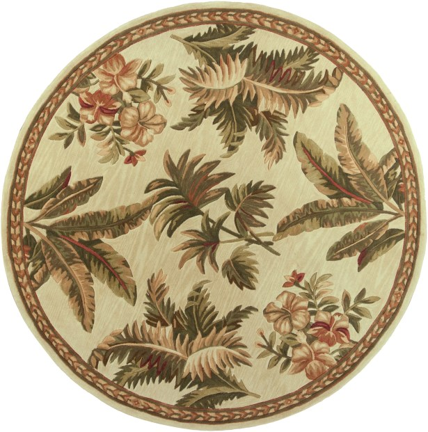 Murray Ivory Tropical Oasis Area Rug Rug Size: Round 5'6