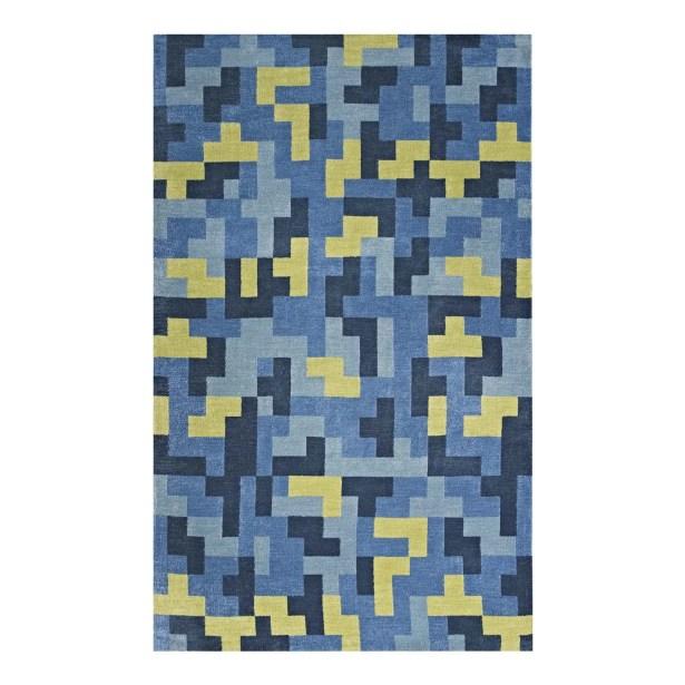 Hartshorn Blue/Light Olive Green Area Rug Rug Size: Rectangle 8' x 10'