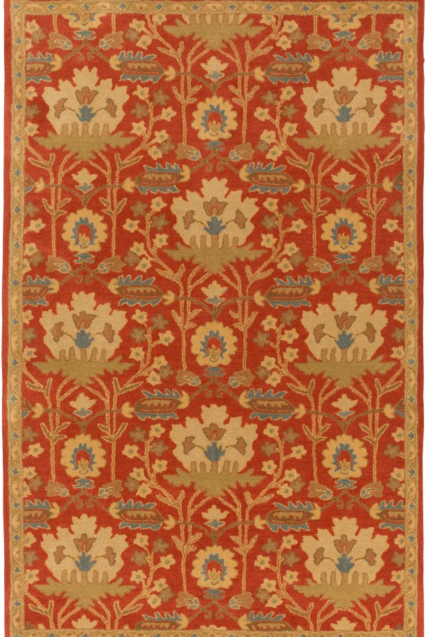Kempinski Hand-Tufted Red/Beige Area Rug Rug Size: Rectangle 4' x 6'