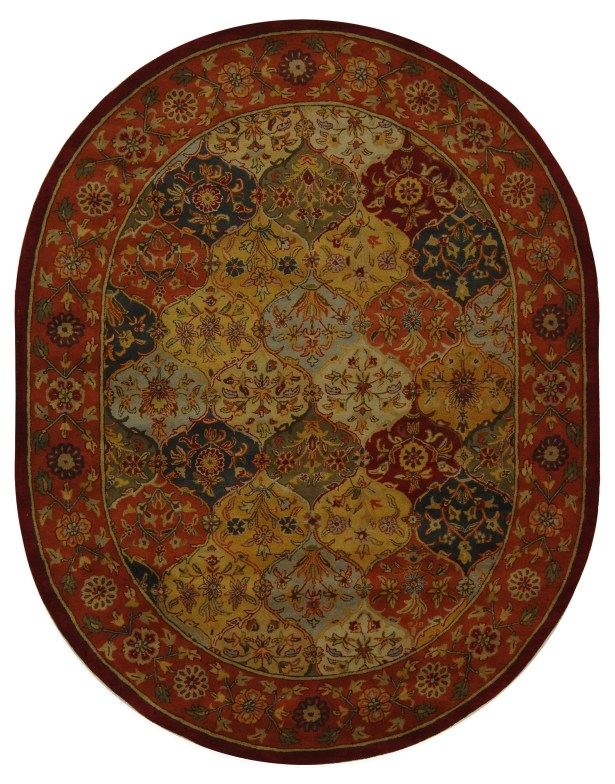 Balthrop Red Wool Hand Tufted Area Rug Rug Size: Oval 7'6