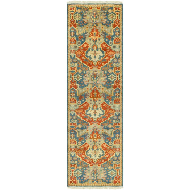 Barfield Hand-Knotted Burnt Orange Area Rug Rug Size: Runner 2'6