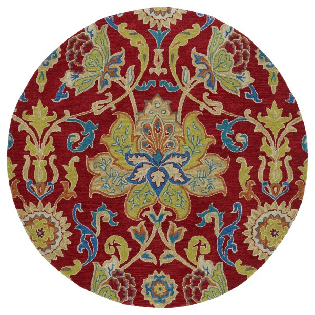 Barkell Red/Green Area Rug Rug Size: Round 9'9