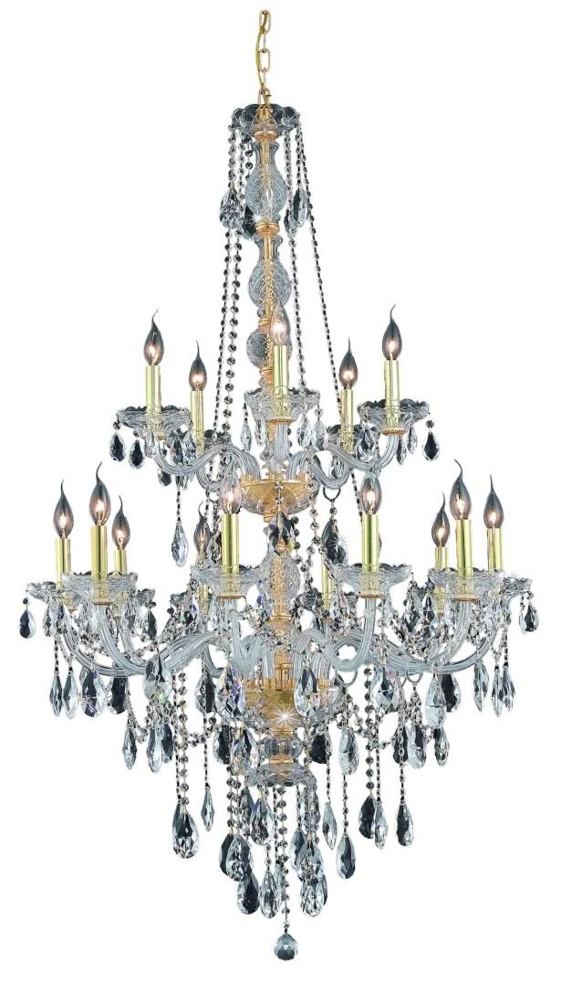 Abram 15-Light Candle Style Chandelier Color / Crystal Color / Crystal Trim: Gold / Crystal (Clear) / Elegant Cut