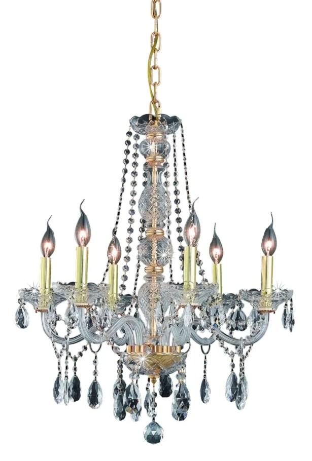 Abram 6-Light Candle Style Chandelier Color / Crystal Color / Crystal Trim: Chrome / Crystal (Clear) / Spectra Swarovski