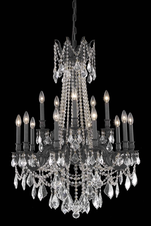 Utica 15-Light Candle Style Chandelier Crystal Color / Crystal Trim: Crystal (Clear) / Spectra Swarovski