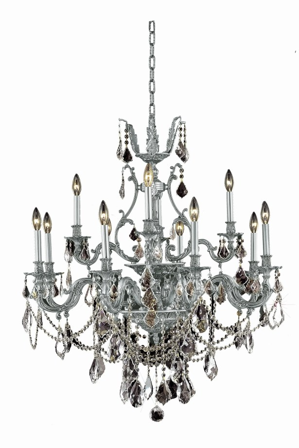 Almont 12-Light Candle Style Chandelier Color / Crystal Color / Crystal Trim: Antique Bronze / Silver Shade (Grey) / Royal Cut