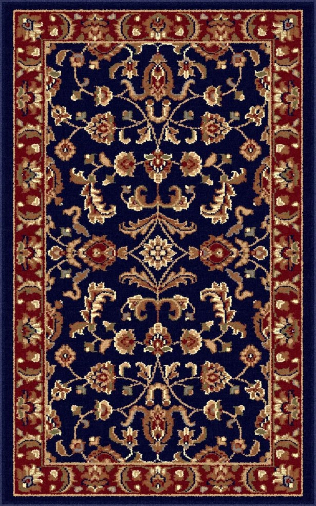 Clarence Navy Blue/Red Area Rug Rug Size: 6'7'' x 9'6''