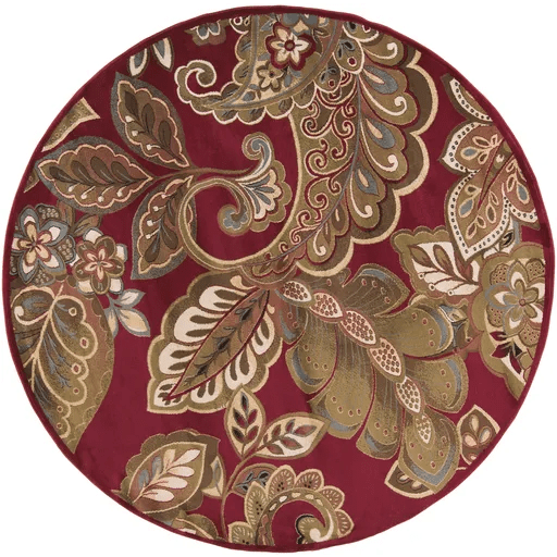 Needham Dark Red Indoor Area Rug Rug Size: Round 8'