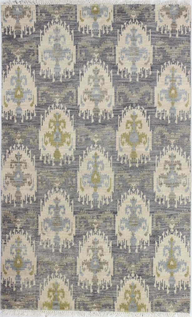 Kurtis Hand-Knotted Grey Area Rug Rug Size: 3'6