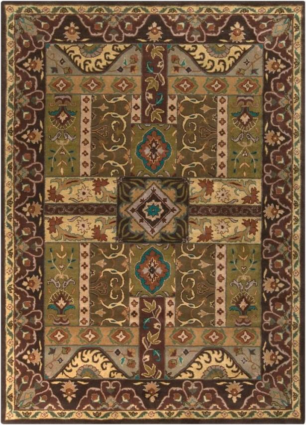 Brocade Dark Brown Area Rug Rug Size: Square 4'