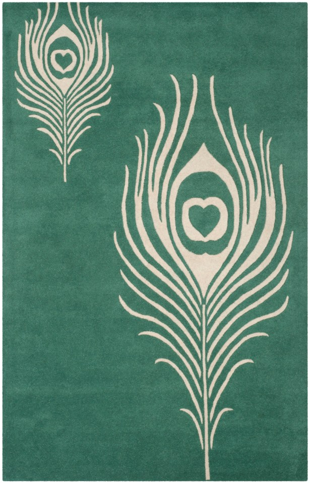 Dorthy Teal / Ivory Contemporary Rug Rug Size: Rectangle 3'6