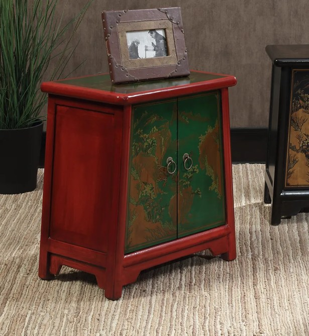 Raiden End Table Color: Red / Green