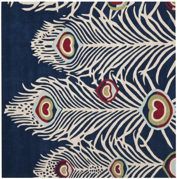 Dorthy Blue/Ivory Rug Rug Size: Square 6' x 6'