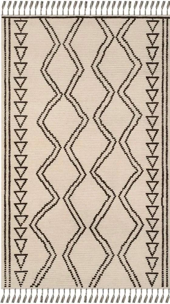 Glenoe Hand-Knotted Ivory/Black Area Rug Rug Size: Rectangle 9' x 12'