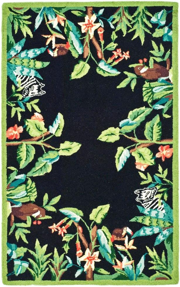 Bridges Black/Green Novelty Area Rug Rug Size: Rectangle 2'9