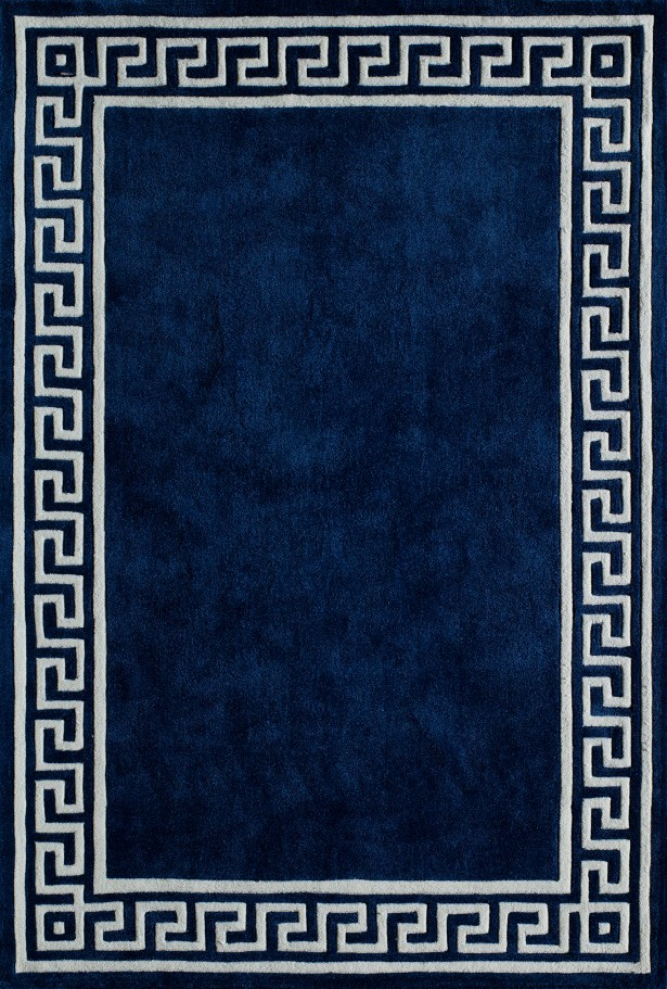 Chantemelle Hand-Tufted Navy/White Area Rug Rug Size: Rectangle 5' x 7'6