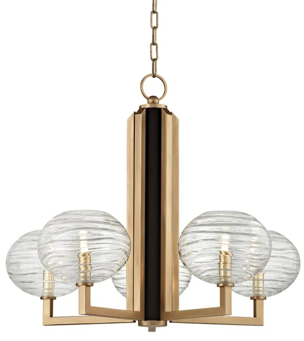 Rawley 5-Light  LED Shaded Chandelier Finish: Aged Brass