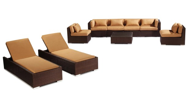 Maui 9 Piece Sectional Set with Cushions Fabric: Taupe, Color: Brown