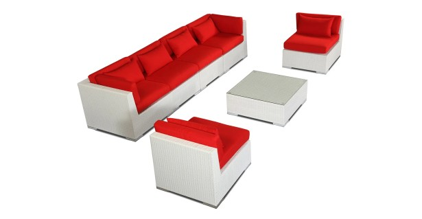 Waikiki 7 Piece Sectional Set with Cushions Fabric: Red, Color: White