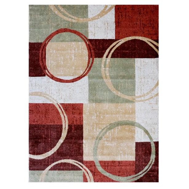 LaScala Dazio Red/White Area Rug Rug Size: 5'3