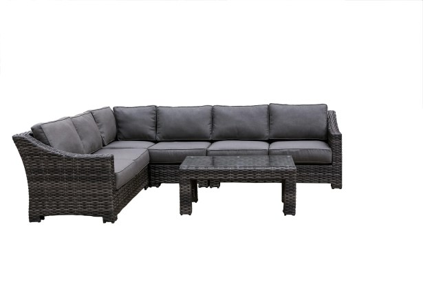 Donley Rattan Sectional Set with Cushions