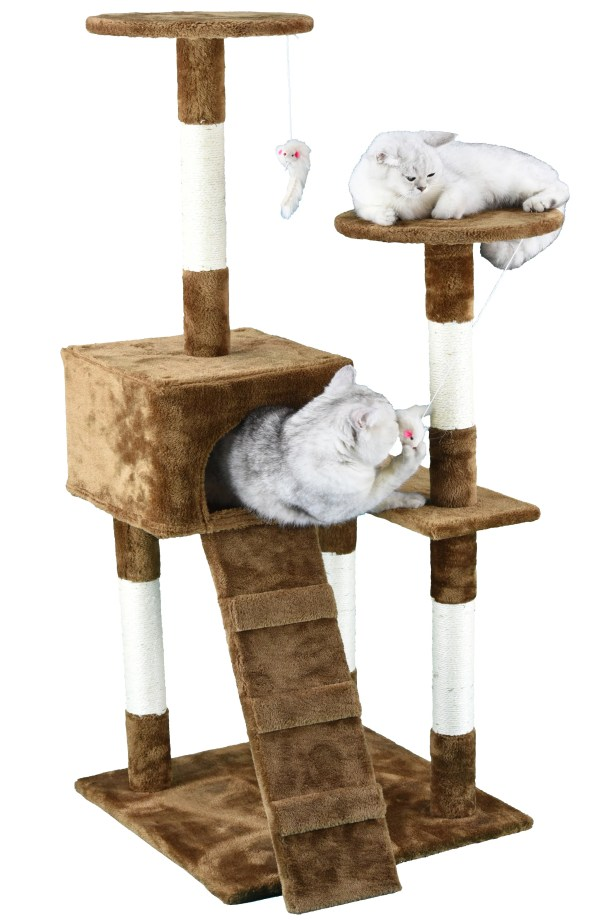 Light Weight Economical Cat Tree Color: Beige / Brown