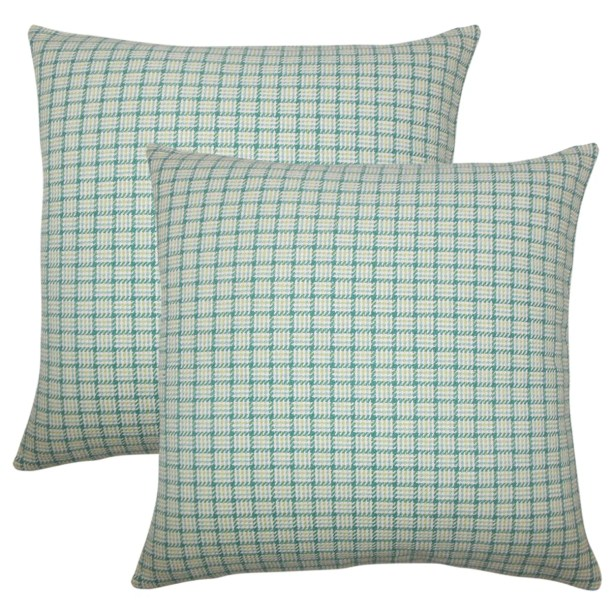Wojcik Plaid Cotton Throw Pillow Color: Aegean