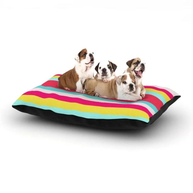 Nika Martinez 'Girly Surf Stripes' Dog Pillow with Fleece Cozy Top Size: Small (40