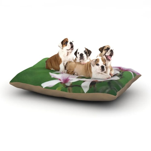 Angie Turner 'Magnolias' Dog Pillow with Fleece Cozy Top Size: Small (40