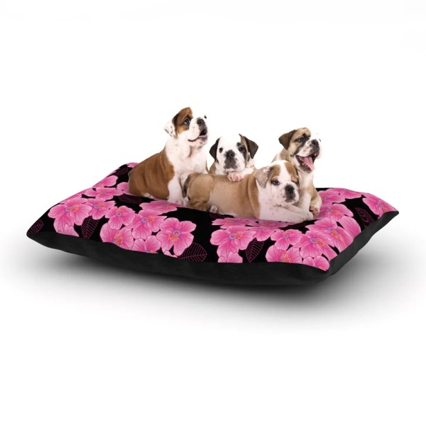 Julia Grifol 'Pink on Black' Dog Pillow with Fleece Cozy Top Size: Small (40