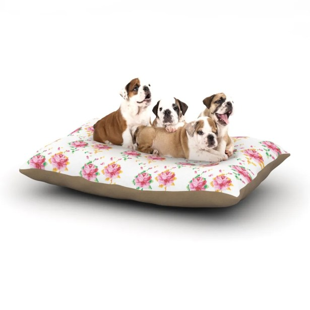 Laura Escalante 'Cross Stitch Flowers' Dog Pillow with Fleece Cozy Top Size: Small (40