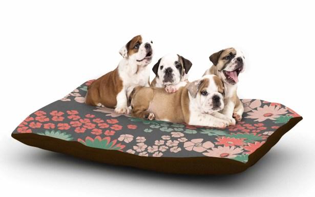 Zara Martina Mansen 'Natures Bouquet' Dog Pillow with Fleece Cozy Top