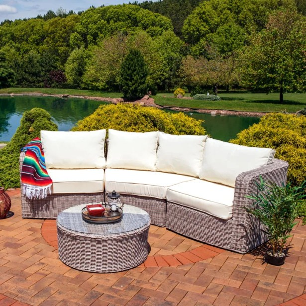Bronson 4 Piece Rattan Sectional Set with Cushions