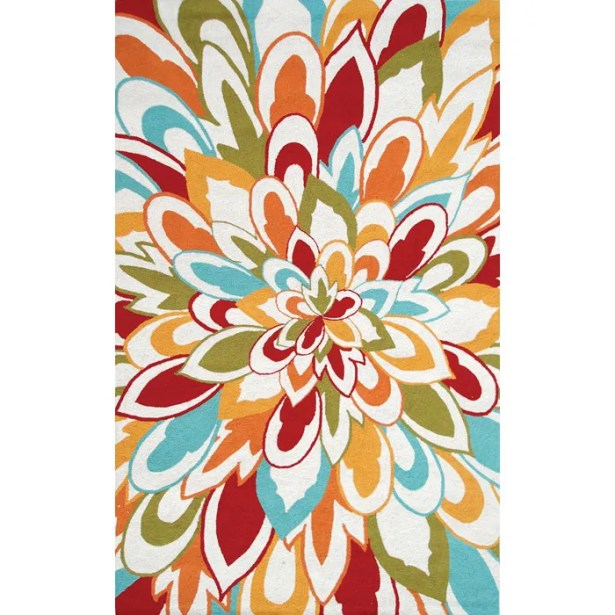 Hand-Hooked Outdoor Area Rug Rug Size: Rectangle 5' x 8'