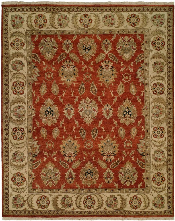 Fatehabad Hand-Knotted Rust/Ivory Area Rug Rug Size: Rectangle 10' x 14'