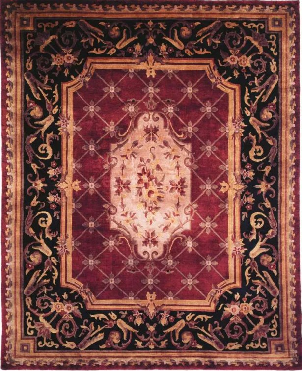 Hand-Knotted Purple/Black Area Rug Rug Size: Rectangle 4' x 6'