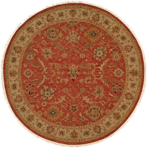 Arora Hand-Woven Red/Beige Area Rug Rug Size: Round 10'